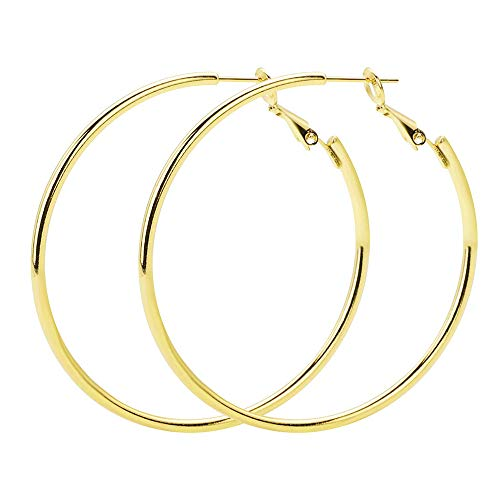 VU100 Big Hoop Earrings 60mm Sterling Silver 18k Gold Plated Polished Round Hoops Earrings Jewellery for Women Girls