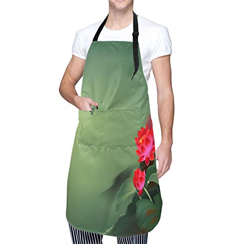 Adjustable Neck Hanging Personalized Waterproof Apron,Dragonfly Traditional Japanese Painting with Lotus Blooms in Hazy Tones Asian Design,Kitchen Bib Gown for Men Women with 2 Center Pockets