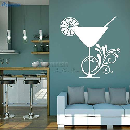 JXFM DIY Moderno decoración del hogar Pared Vinilo Pegatina Cocina calcomanía cóctel limón Taza Vidrio Rizado Vinilo 42x43 cm