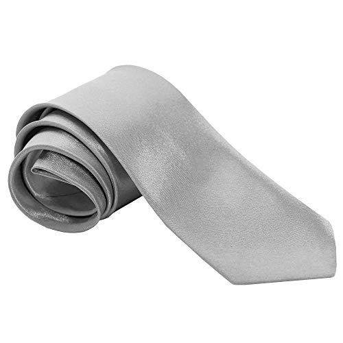 tumundo 1 Krawatte Tie Breit für Hemd Anzug Schlips Binder Mode Business Hochzeit Fasching Herrenschmuck + Anleitung Geschenkbox, Farbe:Silber