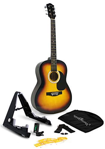 Martin Smith W-101-SB-PK Acoustic Guitar Super Kit with Stand (Sun Burst)