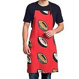 YUXB Tablier Ajustable Ballon de Rugby imperméable Original Design Oxford Cloth Apron 28,3 `` X34,6 '' est Parfait pour la Cuisine, la Peinture, Les travaux ménagers, Les compositions Florales