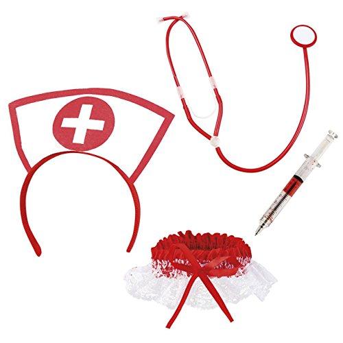 Boland 44803 - Sexy Krankenschwester Set, mit Harreif, Stethoskop, Strumpfband und Spritzenstift, Arzthelferin, Beruf, Motto Party, Karneval