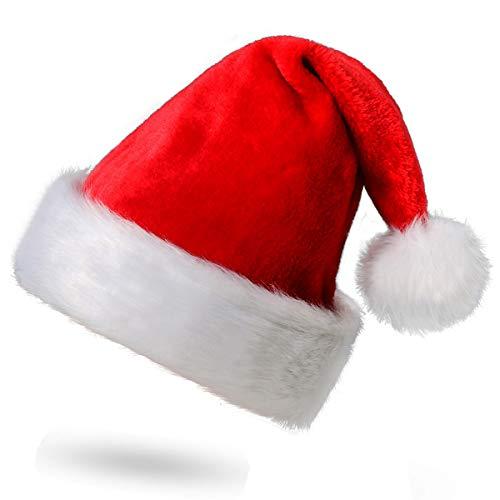Funhoo Weihnachtsmütze Nikolausmütze mit Pelzrand Rot Santa Claus Mütze aus Weichem Plüsch Weihnachtsmann Weihnachten Xmas Dekoration für Erwachsene (1 pc)