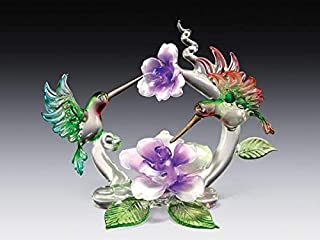 DAR Giftware Blown Glass Hummingbirds and Flowers Figurine Collectible 4 Inches Tall