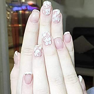 Drecode French False Nails Bling Flower Full cover Fake Nails Wedding Birthday Party Clip on Nails for Women and Girls