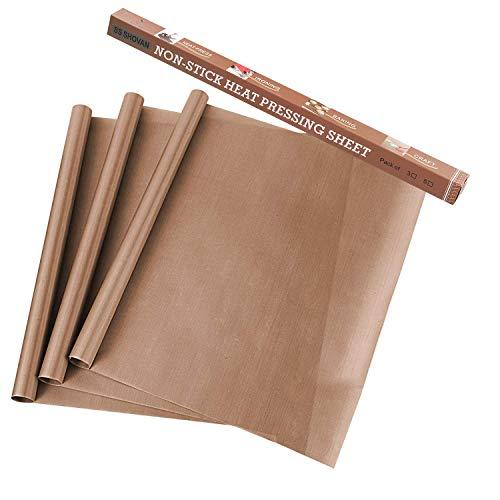 Paquete de 3 hojas de teflón de PTFE para transferencia de prensas de calor de 40,6 x 50,8 cm, antiadherentes y resistentes al calor