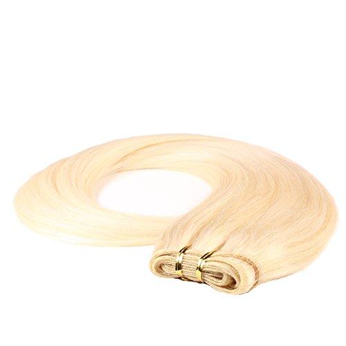 hair2heart Tresse / Weft aus Echthaar, 100g, 70cm, glatt - Farbe 60 platinblond