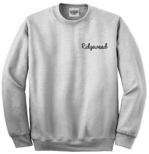 Ridgewood New Jersey NJ Script Chest Womens Unisex Crewneck Sweatshirt Grey X-Large