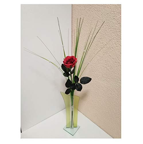 Rose Stielrose Rot mit Grün künstliche Rose Strauß Rosenstrauß Kunstblume
