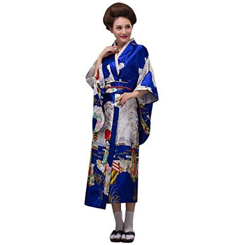 Lazzboy Frauen Print Kimono Traditionelles Japanisches Kleid Fotografie Cosplay Kostüm Kirschblüten Anime Japanischen Kleider Kleidung Halloween(Blau,One Size)