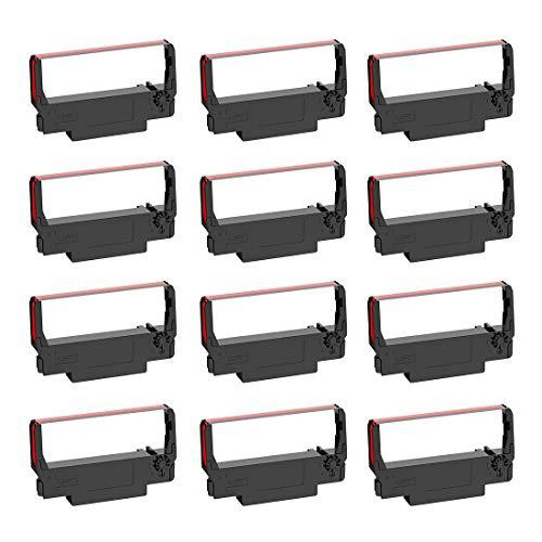 Bigger Paquete de 12 cintas de tinta ERC30 B/R compatibles con la caja registradora Epson ERC-30 ERC 30 34 38 utilizado en Epson TMU-220B/TM-300B, Samsung SPR-270/SRP-275 (negro y rojo)