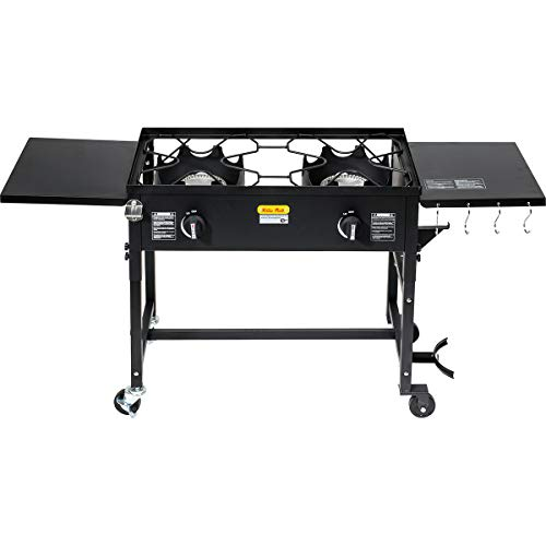 Barton Outdoor Camping Propane Double Burner Stove 2 Folding Cook Cooking Station Stand Picnic BBQ Grill 58,000 BTU, Black
