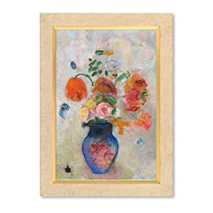 Silk Flower Arrangements DECORARTS - 'Large Vase with Flowers (1912)' by Odilon Redon. Oil Painting Reproduction, Giclee Print on Canvas. Ready to Hang Framed Wall Art for Home and Office Decor. Total Size w/Frame: 15x21
