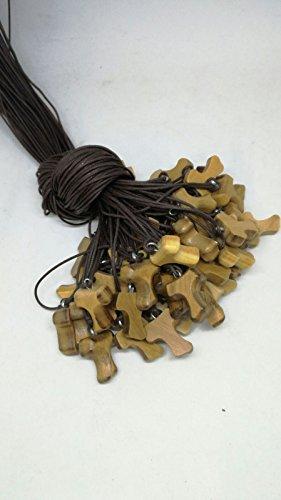 Set 50 Tau collana croce San Francesco di Assisi legno ulivo/olivo cm 2 Comunione Cresima