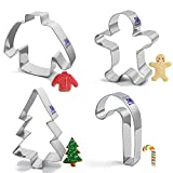 Christmas Cookie cutter Holiday Cookie cutter Set with Recipe 4 Piece Winter Cookie Cutter Christmas Tree, Gingerbread Man, Sweater and Candy Cane for Biscuit, Fondant, Birthday Party Stainless Steel