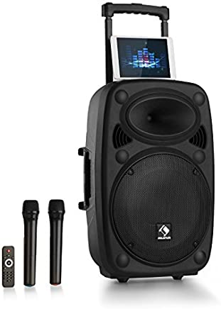 "auna Streetstar 15 Equipo de PA portátil • Sistema sonido móvil • 1000W total • Subwoofer 15"" • Bluetooth • USB SD • AUX • Compatible MP3 • Display LED • 2 x Micrófono UHF • 2 tweeters de 2.5"" • Negro"