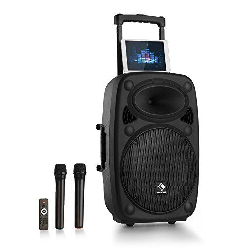 "auna Streetstar 2.0 - Equipo PA portátil, Altavoz DJ, Bluetooth, Puerto USB, SD, MP3, AUX, Batería 3 Ah, LED, 2 micrófonos UHF, Mando a Distancia, Subwoofer 15"" (38 cm), Potencia 1000 W, Negro"