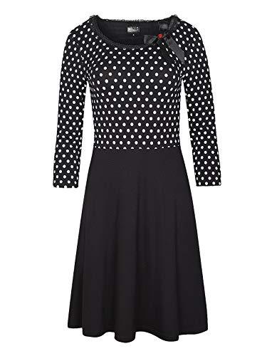 Pussy Deluxe Fine Dotties Kleid schwarz weiß, Größe:M