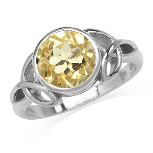 Silvershake 2.43ct. 9mm Natural Round Shape Citrine 925 Sterling Silver Triquetra Celtic Knot Ring Size 12