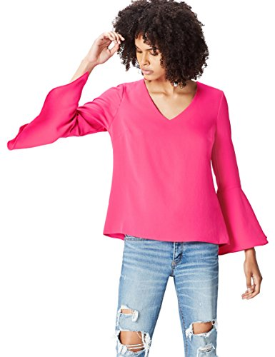 Amazon-Marke: find. Bluse Damen mit Trompetenärmeln und V-Ausschnitt, Rosa (Fuchsia), 38, Label: M