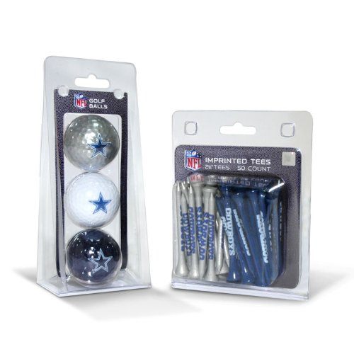 Team Golf NFL Dallas Cowboys Logo Imprinted Golf Balls (3 Count) & 2-3/4' Regulation Golf Tees (50 Count), Multi Colored