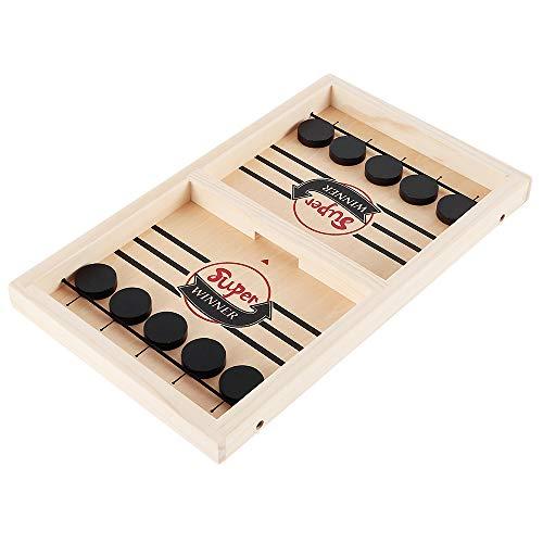Schnelles Sling Puck Spiel,Brettspiel Hockey,Fast Sling Puck Game,Holzhockeyspiel Tischspiel,Tisch Hockey Brettspiel Katapult Schach,Spiel Stoßstange Schach Desktop-Spiel für Kinder Erwachsene