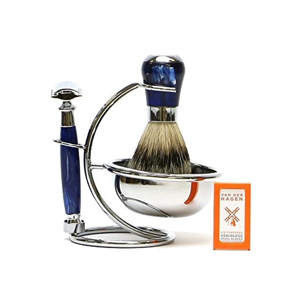 作動する新しい意味金曜日VANDERHAGEN(米) ウェットシェービングセット ナイトスター 両刃 髭剃り 替刃5枚付