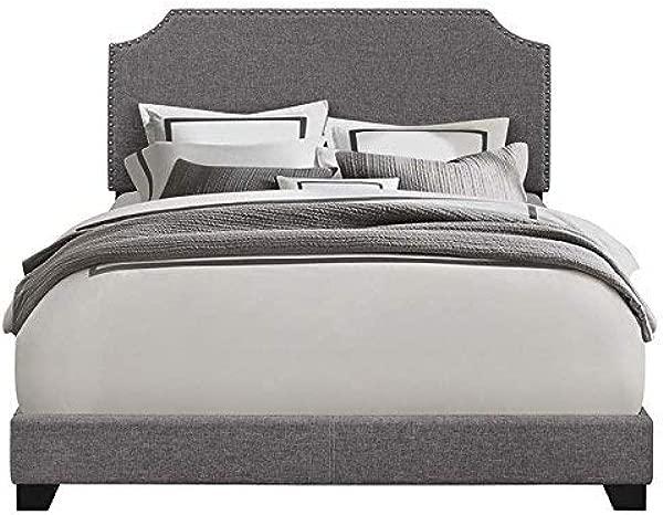 Pulaski Gray Clipped Corner Upholstered Bed King