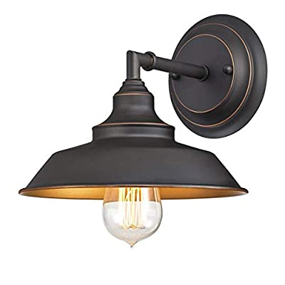 Westinghouse Lighting 6344800 Iron Hill One-Light Indoor Wall Fixture, Finish with Highlights, 1 Sconce, Oil Rubbed Bronze/Bronze