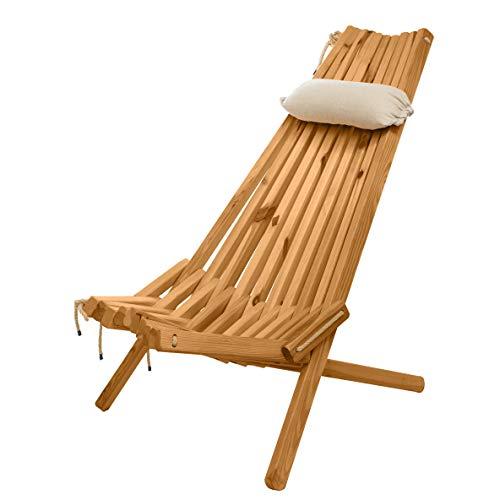 BOGATECO Klappbare Gartenliege aus Holz mit dem Kopfkissen | 100 x 55 x 30 cm | Rückenlänge 90 cm | Sonnenliege | Komfortabel, Stabil & Funktional | Braun