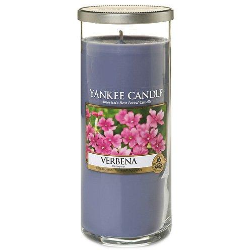 Yankee Candle Pillar Candele Décor Verbena, Vetro, Rosa, 8.2 x 8 x 19.3 cm