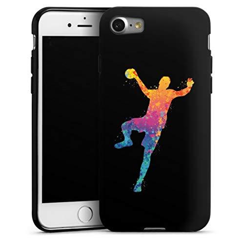 DeinDesign Silikon Hülle kompatibel mit Apple iPhone 7 Case schwarz Handyhülle Handball Farbklecks Ball
