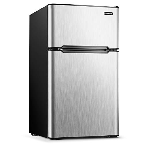 Euhomy Mini Fridge with Freezer, 3.2 Cu.Ft Compact Refrigerator with freezer, 2 Door Mini Fridge with freezer For Dorm/Bedroom/Office/Apartment- Food Storage or Drink Beer(New Silver)