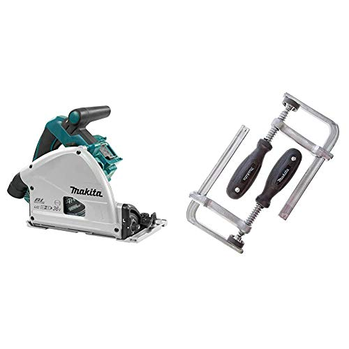 Makita DSP600ZJ BL LXT Plunge Saw-Multicolour, 36 V, 230 mm & 194385-5 Clamp Set for SP6000 Plunge Saw (Pair), Silver