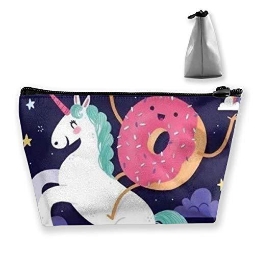 Donut Rides on Rainbow Unicorn Trapezoid Travel Cosmetic Storage Pouch Pochette