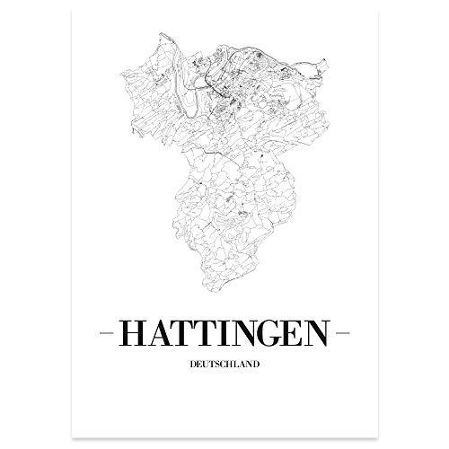 JUNIWORDS Stadtposter, Hattingen, Wähle eine Größe, 21 x 30 cm, Poster, Schrift A, Weiß