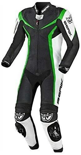 Berik Biker - Tuta in pelle da motociclista, taglia 42, colore: Verde