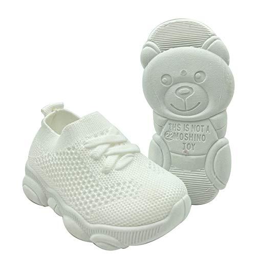 QUMOS Kleinkindschuhe 1-4 Jahre Baby First-Walking Trainer Kleinkind Slip on Infant Waves Schuhe Jungen Mädchen Baumwolle Mesh Atmungsaktive Turnschuhe im Freien(Weiß,20EU)