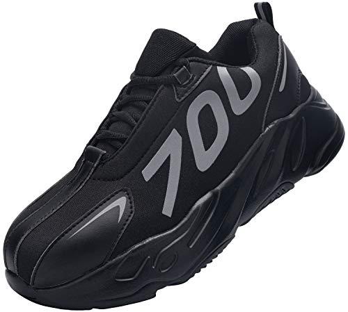 Kefuwu Zapatillas de Seguridad Hombre Mujer Ligero Transpirable Zapatos de Seguridad con Puntera de Acero Anti-pinchazo
