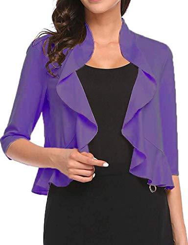 Women's Open Front Cropped Cardigan 3/4 Sleeve Casual Shrugs Jacket Draped Ruffles Lightweight Sweaters (Purple, Small)