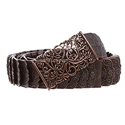 """1 1/4"""" Rectangular Floral Hollow Out Embossed Engraved Western Sequent Metal Stretch Belt, Antique Copper 