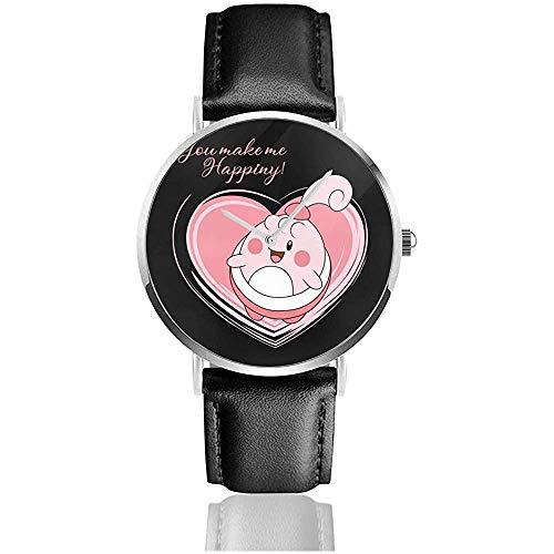 Unisex Business Casual Monster Love Happiny Uhren Quarz Leder Uhr