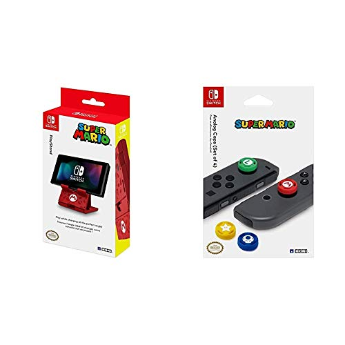 HORI Compact PlayStand - Mario Edition, Officially Licensed by Nintendo - Nintendo Switch & Nintendo Switch Super Mario Analog Caps Officially Licensed by Nintendo - Nintendo Switch