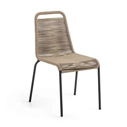 Kave Home - Silla de Comedor Lambton marrón Claro de Cuerda de poliéster y Patas de Acero en Negro para Interior y Exterior