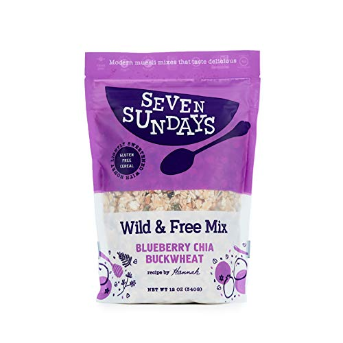 Seven Sundays Wild & Free Blueberry Chia Muesli Cereal {12 oz. pouch, 1 Count} | Gluten Free Certified | Non GMO | No Refined Sugar | Kosher