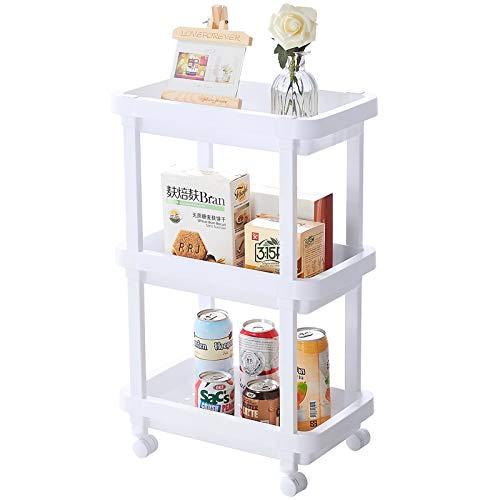 Aogist Rolling Storage Cart Organizer Shelf Rack Storage Tower Utility Cart for Kitchen Laundry Room Bathroom Office & Dresser(3-Tier, White)