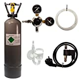 Guemmer products co2 Anlage Aquarium Komplett-Set für Aquarien mit 2kg Mehrwegflasche, gefüllt, NEU, inklusive Druckminderer, Nachtabschaltung mit Rückschlagventil und Diffusor