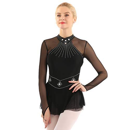 inhzoy Vestido de Danza Ballet Lentejuelas para Mujer Manga Larga Maillot de Patinaje Artístico con Falda Malla Leotardo de Gimnasia Rítmica Traje Bailarina Negro Medium