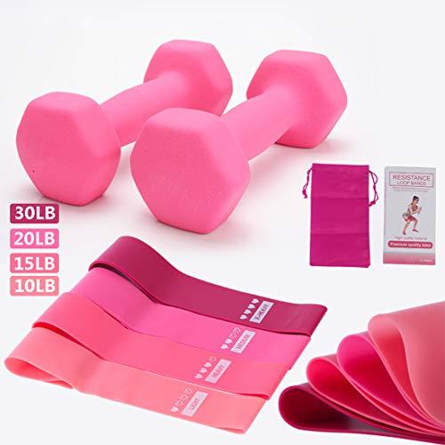 Dumbbell, Hex Dumbbells Weight Set of 2, 1KG/1.5KG/2KG/3KG/4KG/5KG, Neoprene Dumbbell Set Coated, for Fitness Exercise,Pink,1.5kg*2
